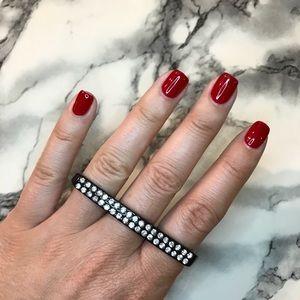Crystal Bling Triple Finger Ring